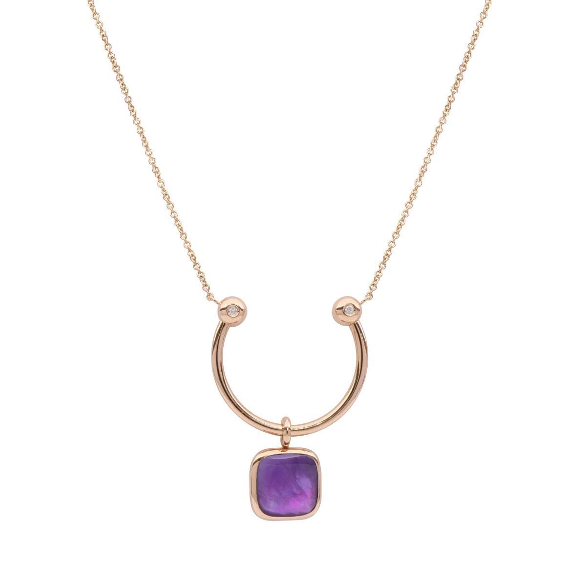 Reversible Square Purple Gemstone Necklace
