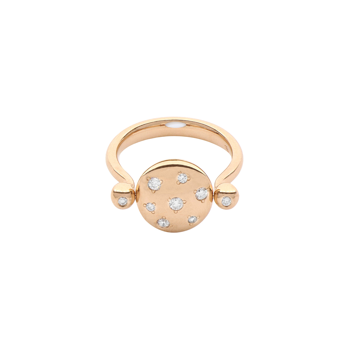 Reversible White Gem and White Diamond Disc Ring in 18 Kt Rose Gold
