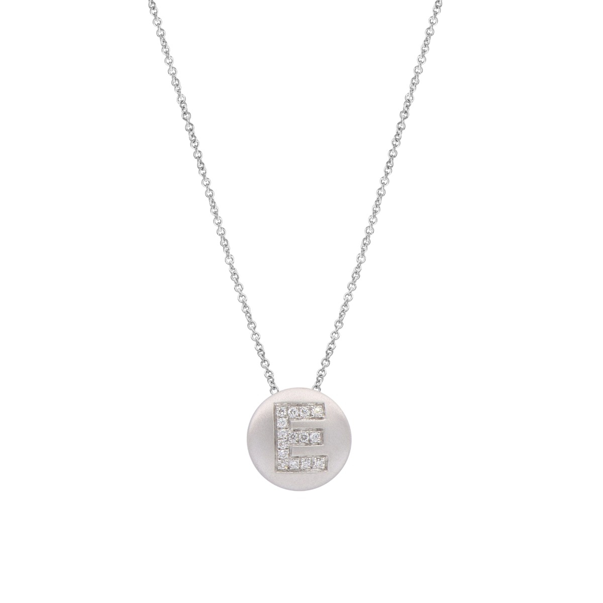 Satin Round Disc Necklace with Diamond Letter in 18 Kt White Gold