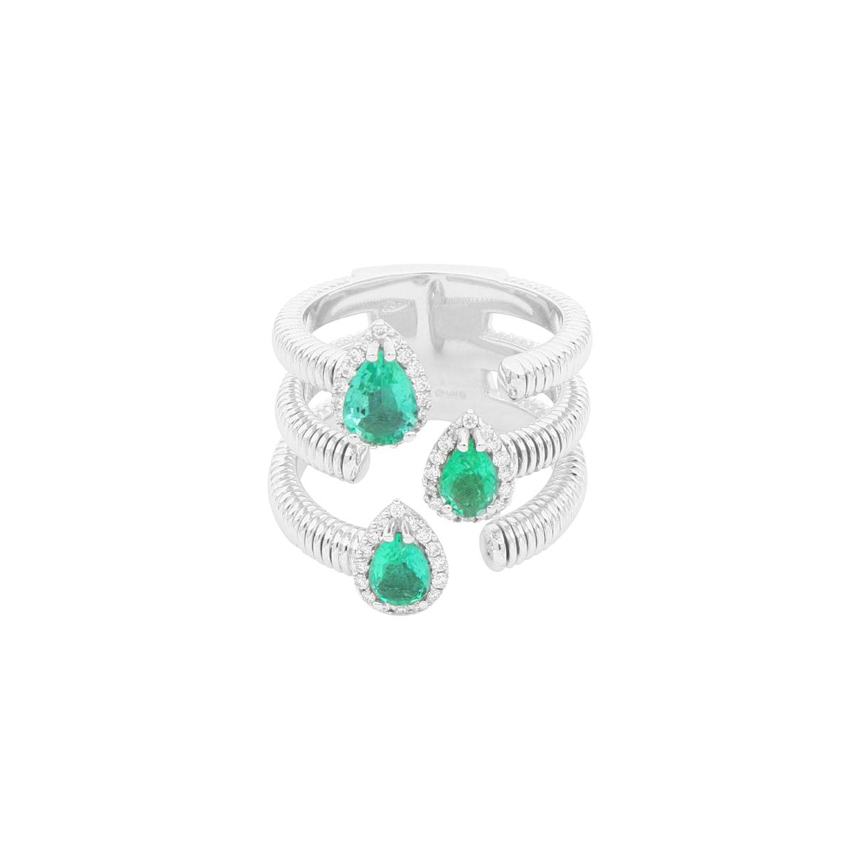 Three-Split Open-Top Ring with Pear-Cut Emerald Gemstones