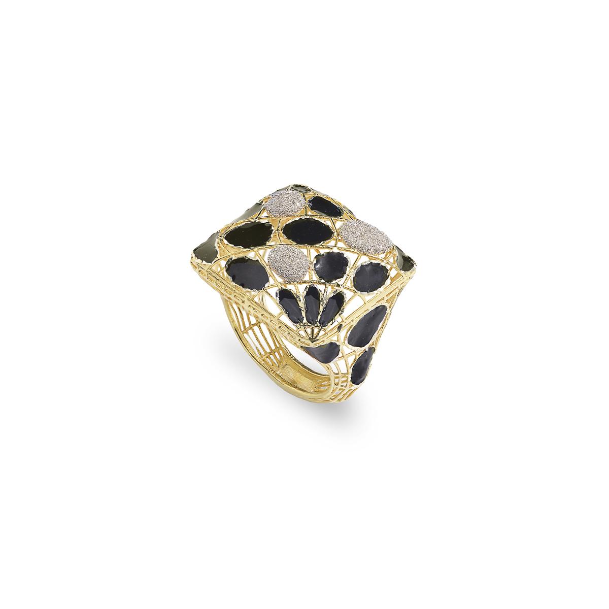 Golden Silver Diamond Effect Ring