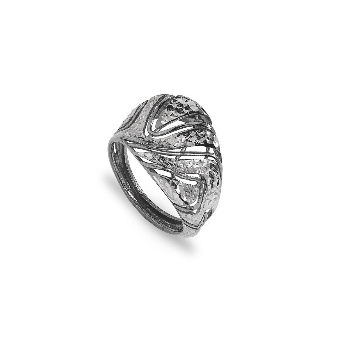 Rose Silver Ruthenium Diamond Effect Ring