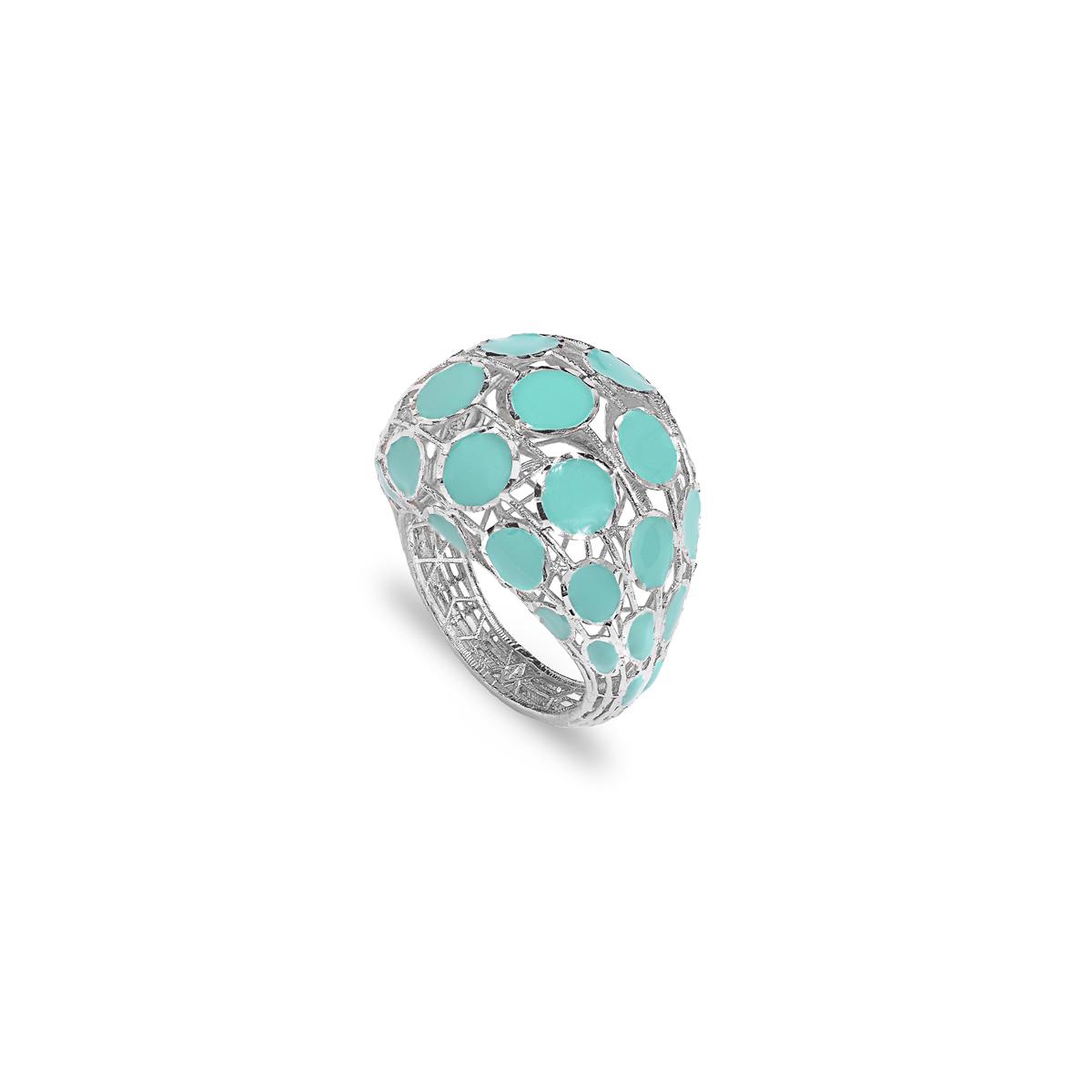 White Silver Diamond Effect Ring