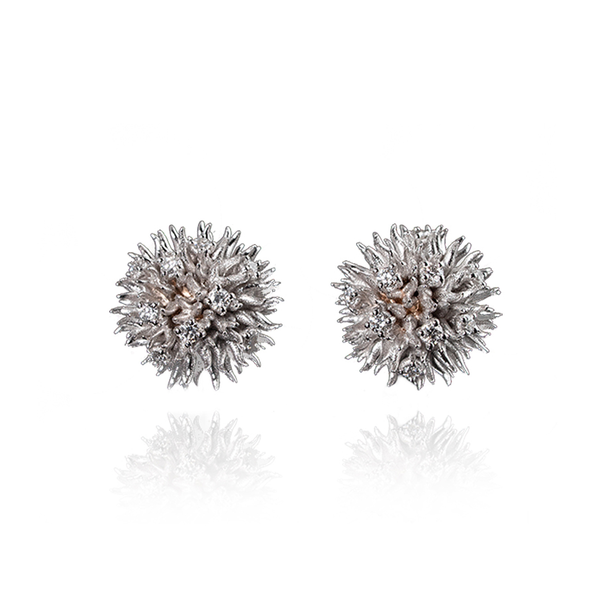 White And Rose Gold Sea Urchin Earrings
