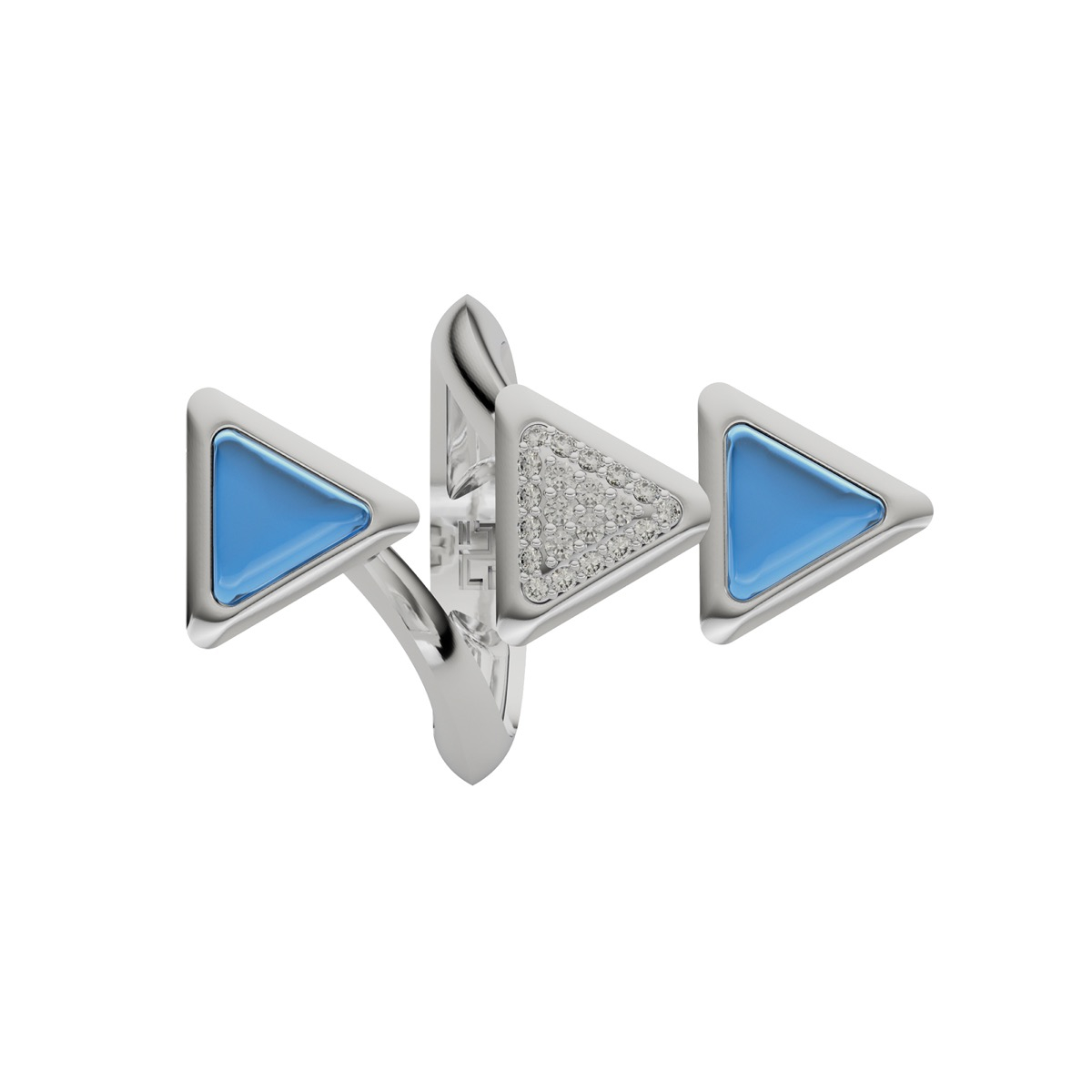 Ring Dove Vai Forward Exquisite White Gold Blue Topaz and Diamonds