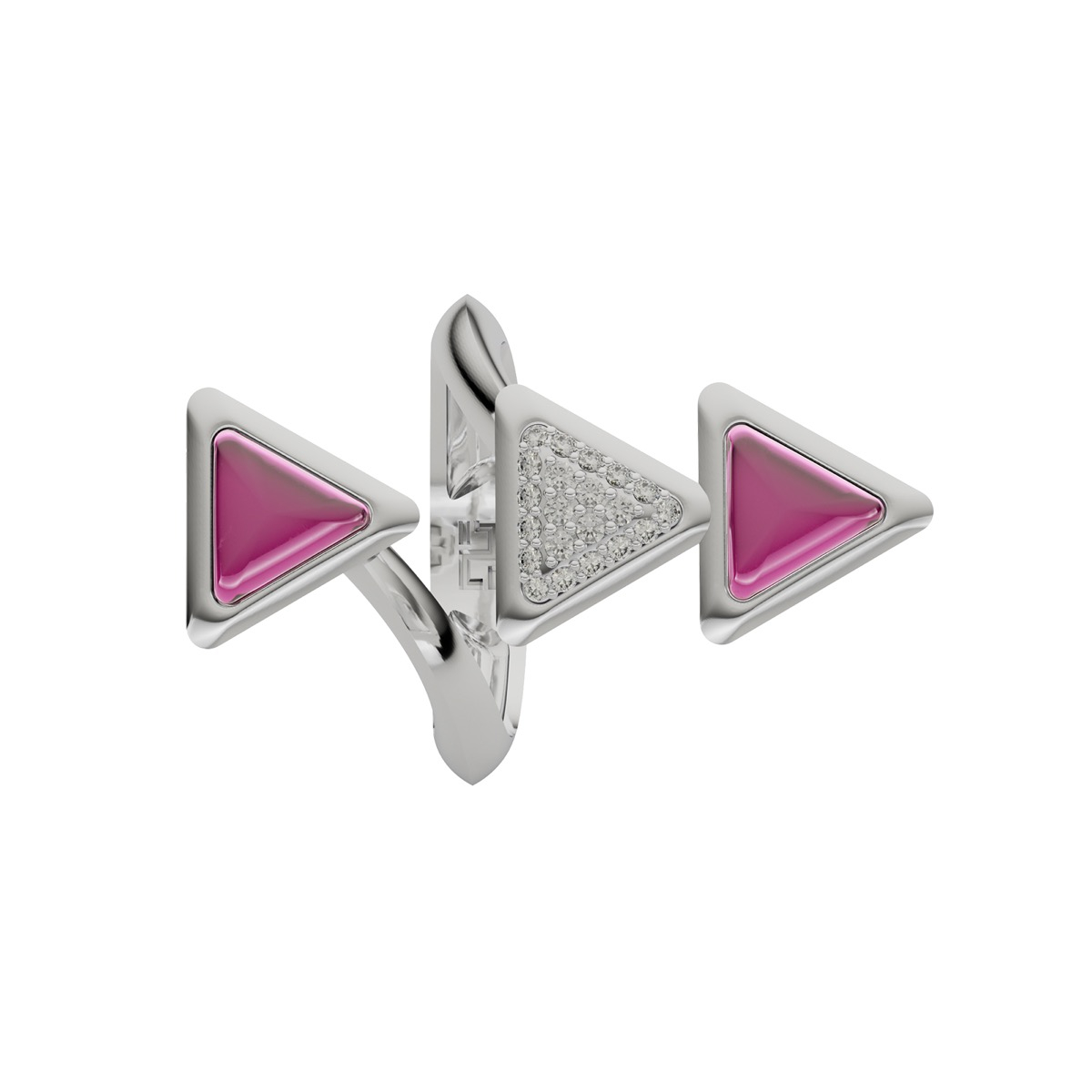 Ring Dove Vai Forward Exquisite White Gold Pink Garnet and Diamonds