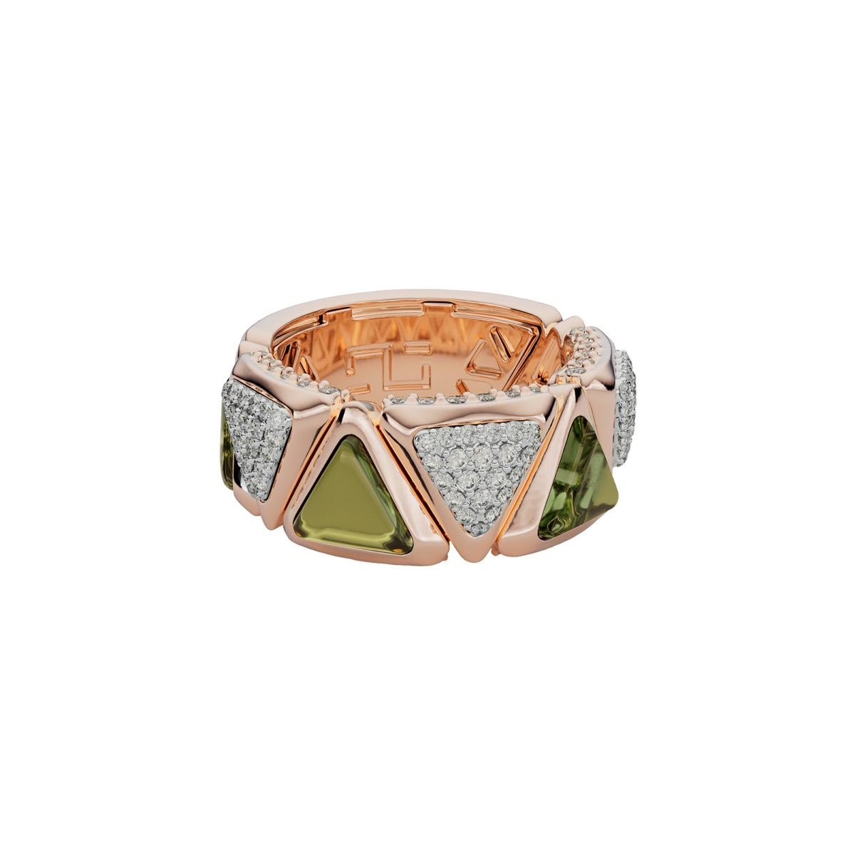 Ring Mirror Exquisite Rose Gold  Green Tourmaline and Diamonds