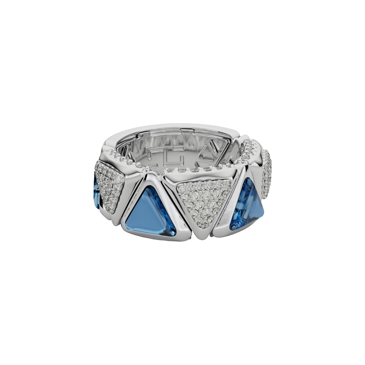 Ring Mirror Exquisite White Gold Blue Topaz and Diamonds