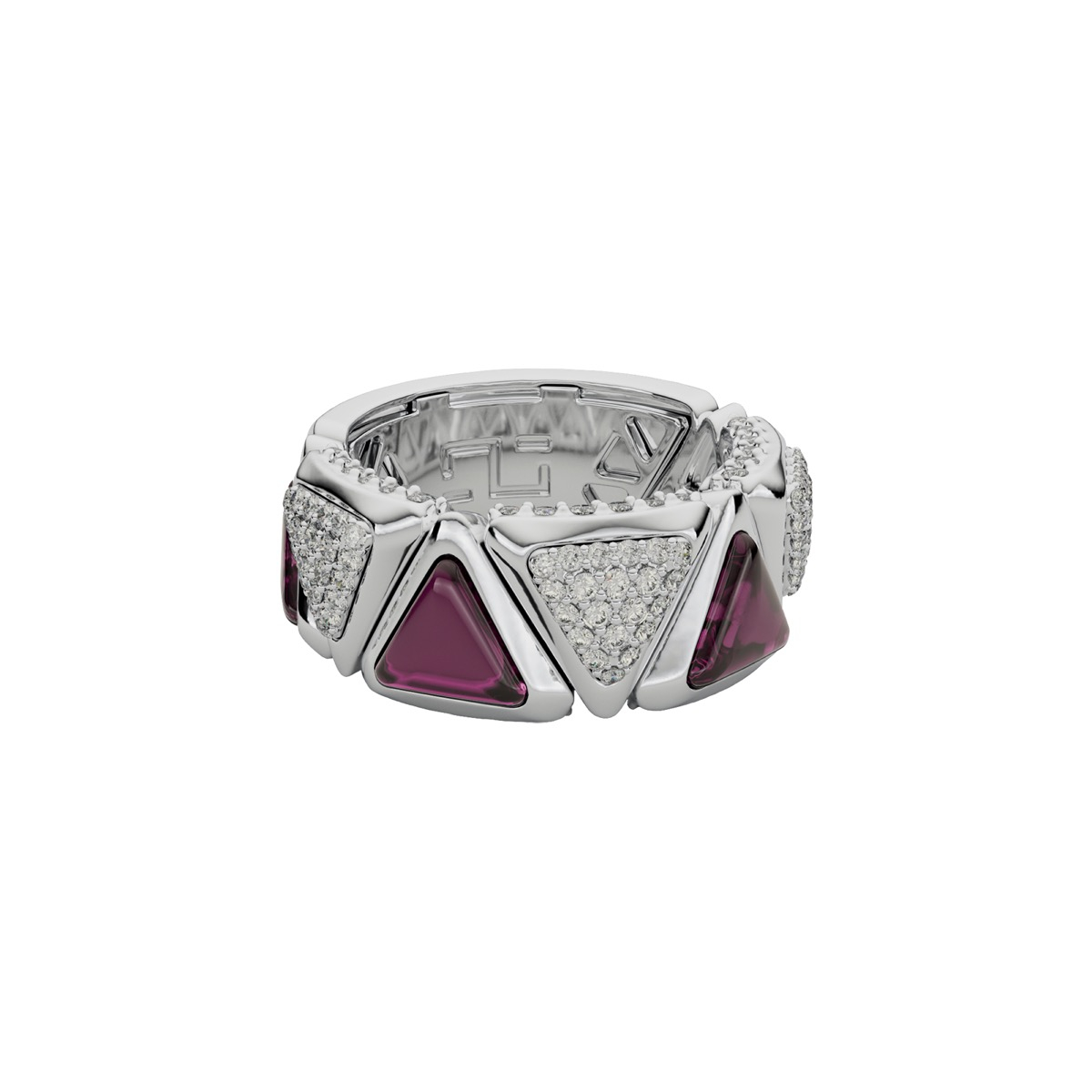 Ring Mirror Exquisite White Gold Pink Garnet and Diamonds