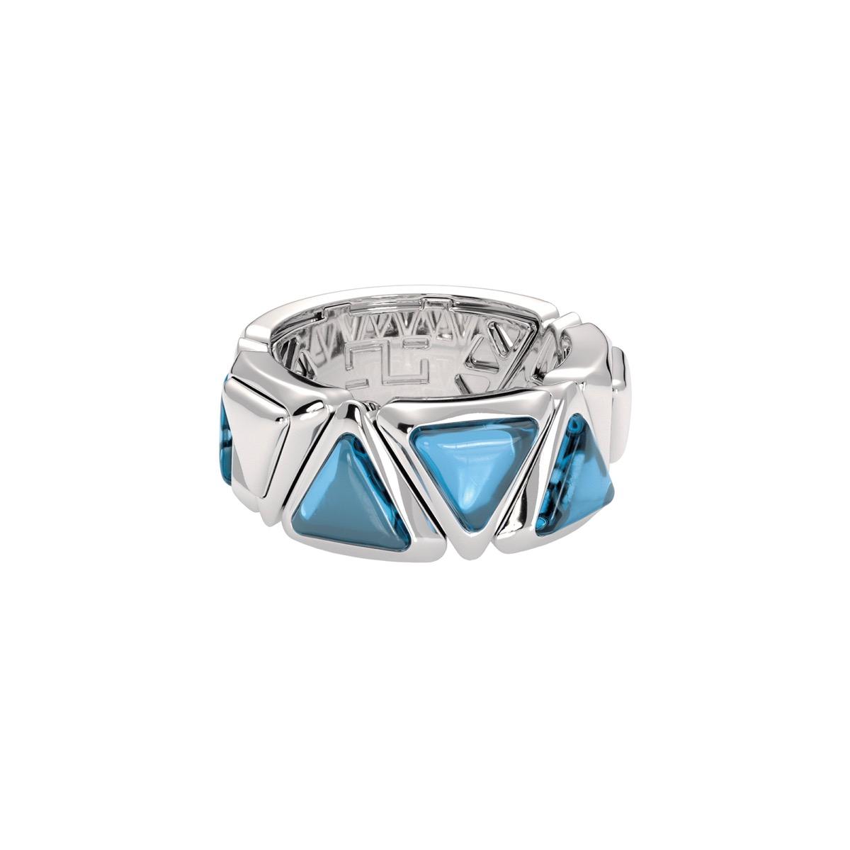 Ring Mirror Gem White Gold Blue Topaz