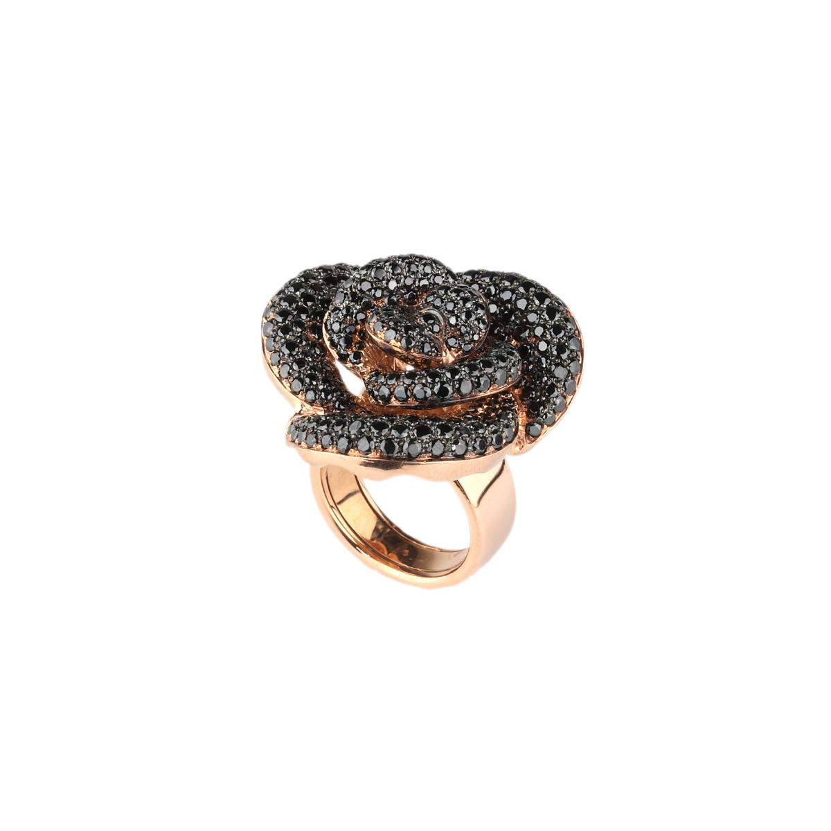 Pavè rose silver ring