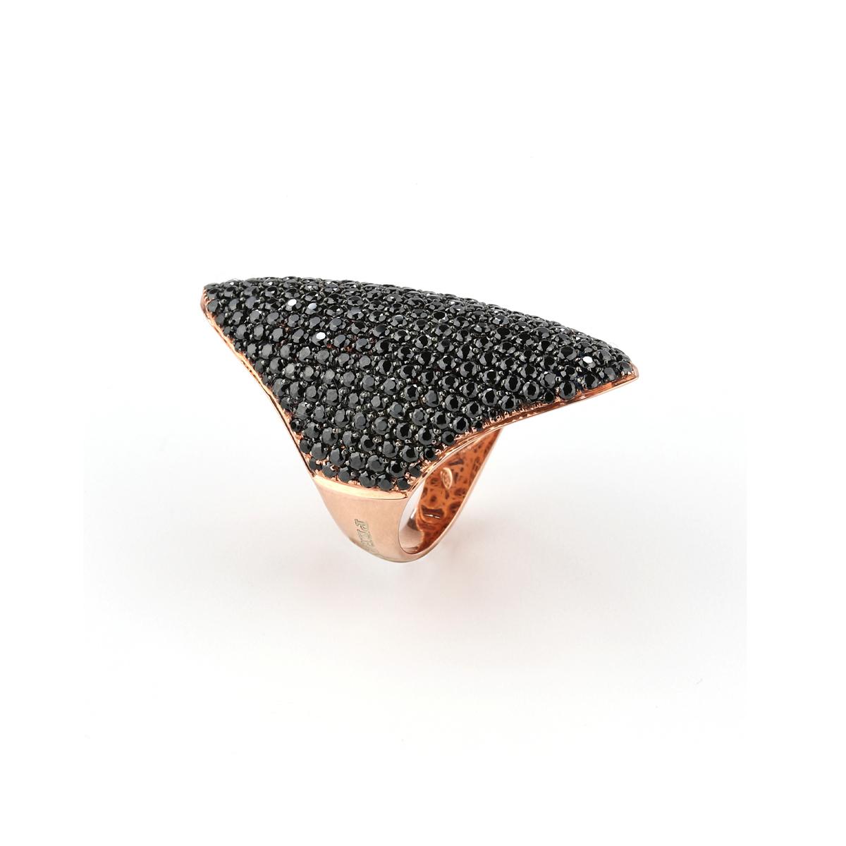 Pavè Shield Rose Silver Ring
