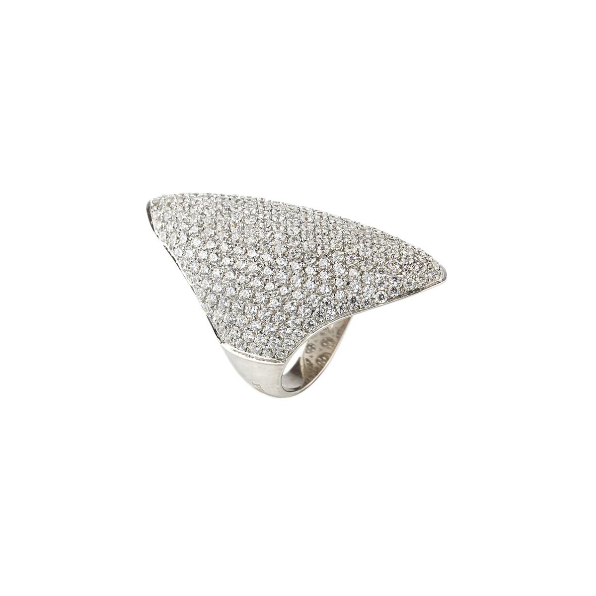 Pavè Shield White Silver Ring