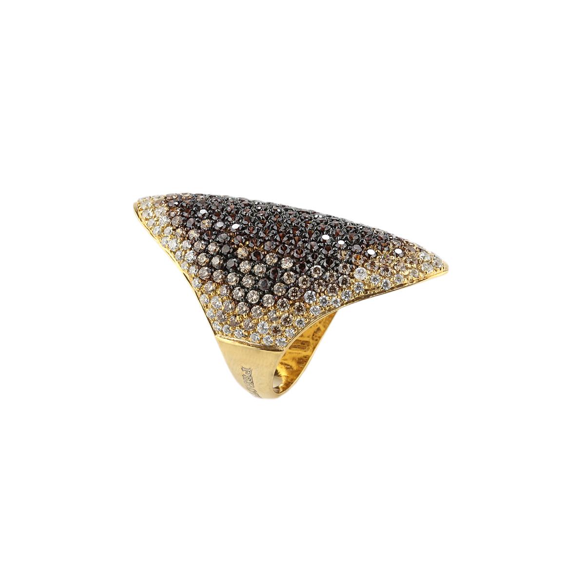 Pavè shield yellow silver ring