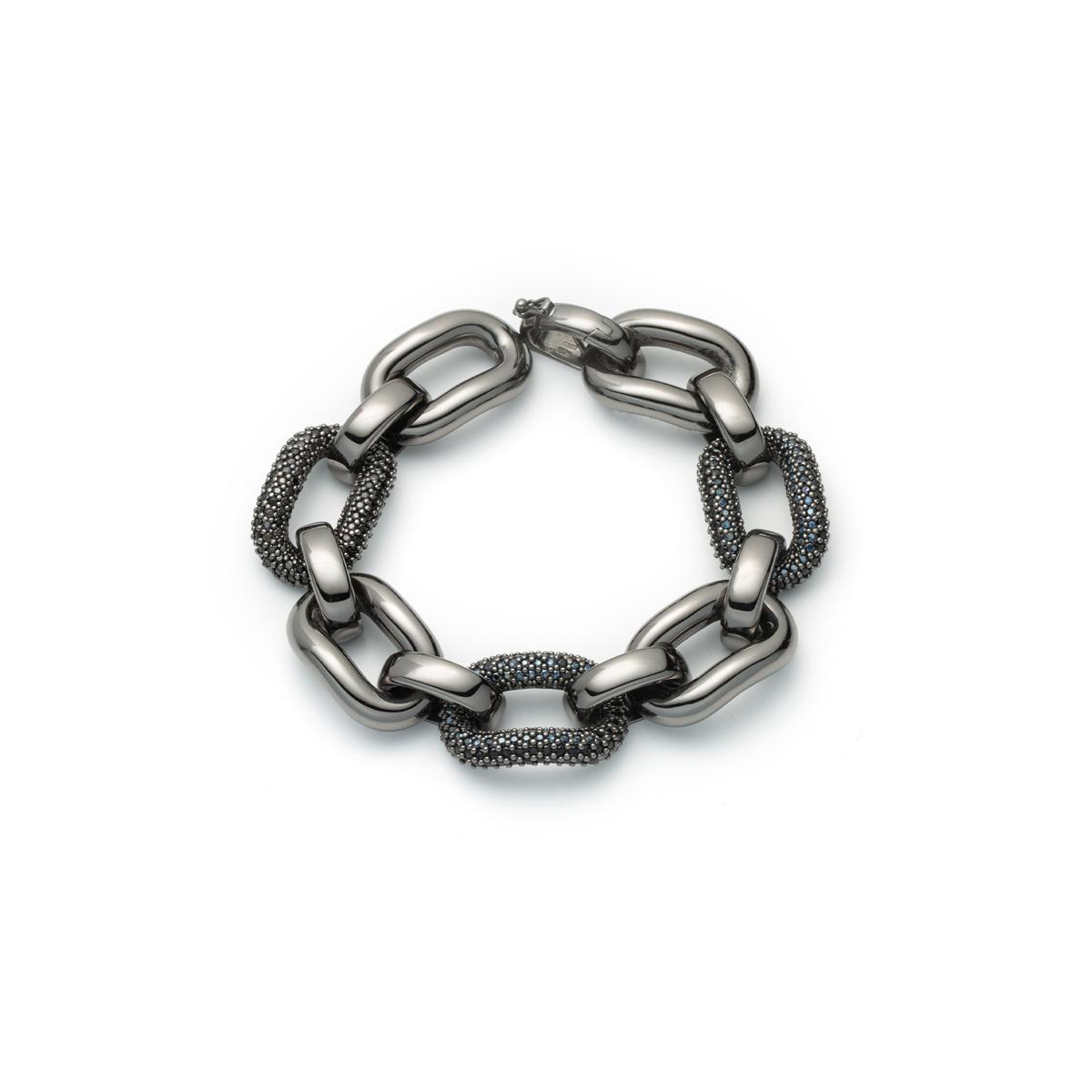 Black Silver and Spinel Stone Link Bracelet