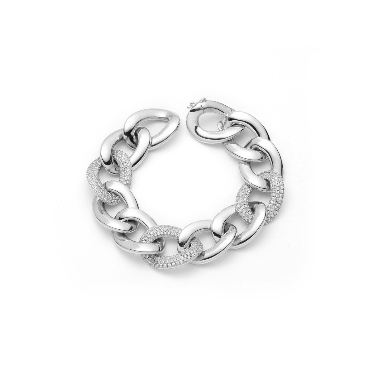 Diamond Interlocking Link Bracelet in Silver