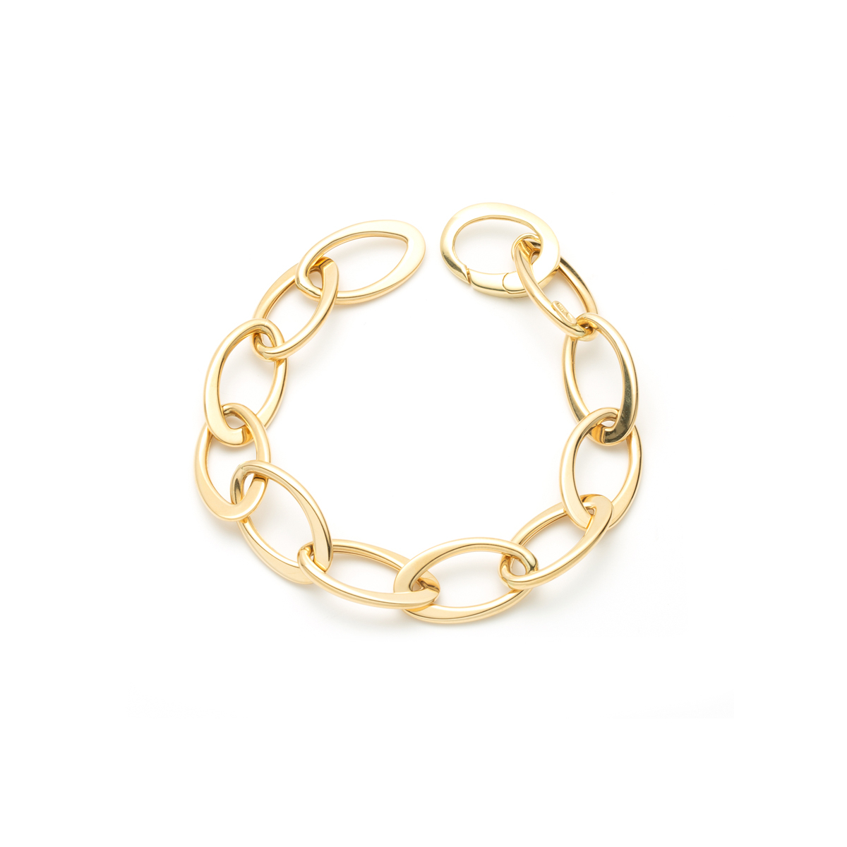 Hollow Oval Link Chain Bracelet in 18 Kt Yellow Gold