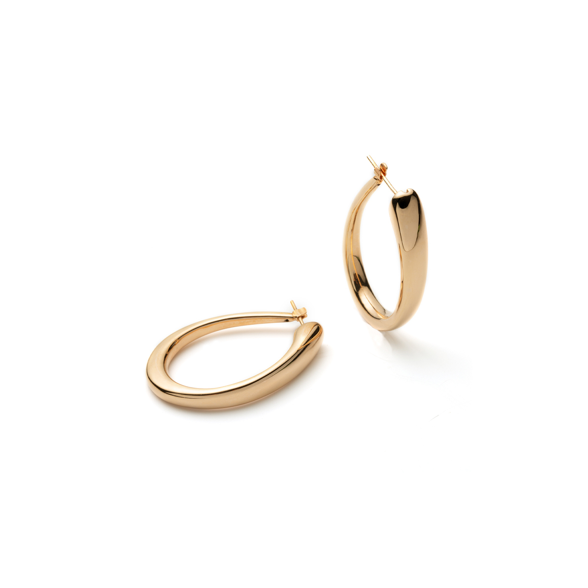 Sleek 18Kt Rose Gold Hoop Earrings