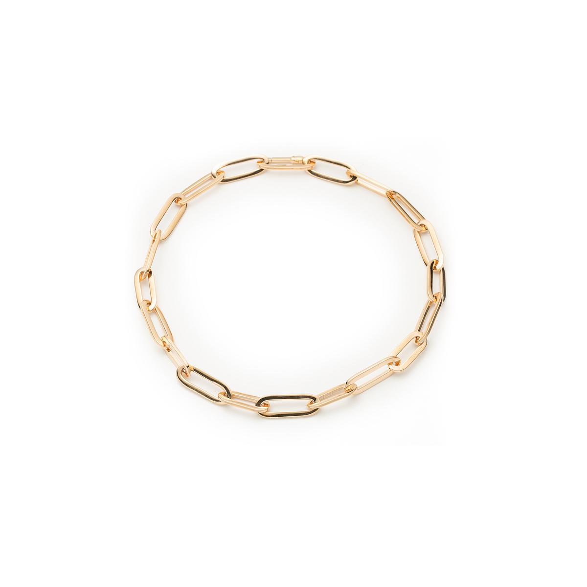 Yellow Gold Paper Clip Link Bracelet